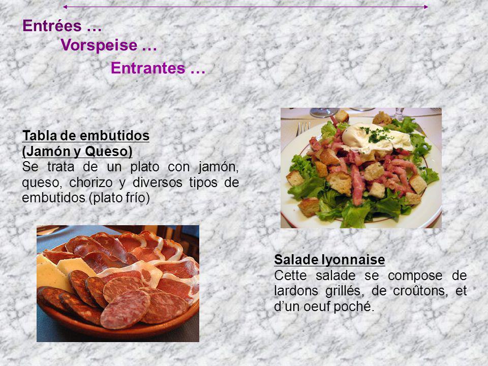 Entrées … Entrantes … Vorspeise … Tabla de embutidos (Jamón y Queso) Se trata de un plato con jamón, queso, chorizo y diversos tipos de embutidos (pla
