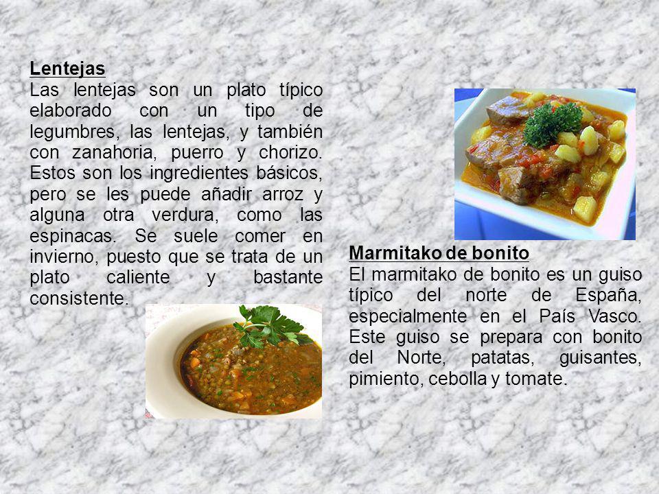 Lentejas Las lentejas son un plato típico elaborado con un tipo de legumbres, las lentejas, y también con zanahoria, puerro y chorizo. Estos son los i
