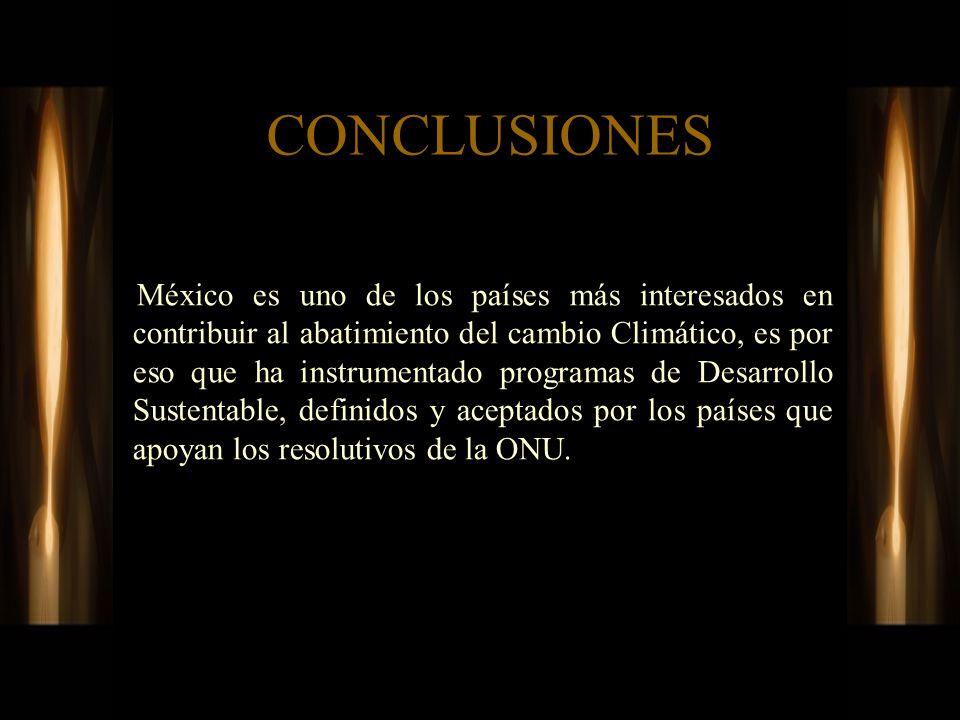 CONCLUSIONES México es uno de los países más interesados en contribuir al abatimiento del cambio Climático, es por eso que ha instrumentado programas