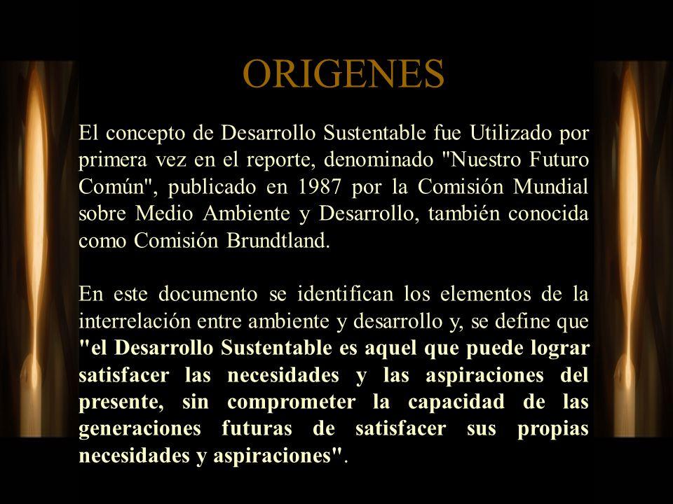 ORIGENES El concepto de Desarrollo Sustentable fue Utilizado por primera vez en el reporte, denominado
