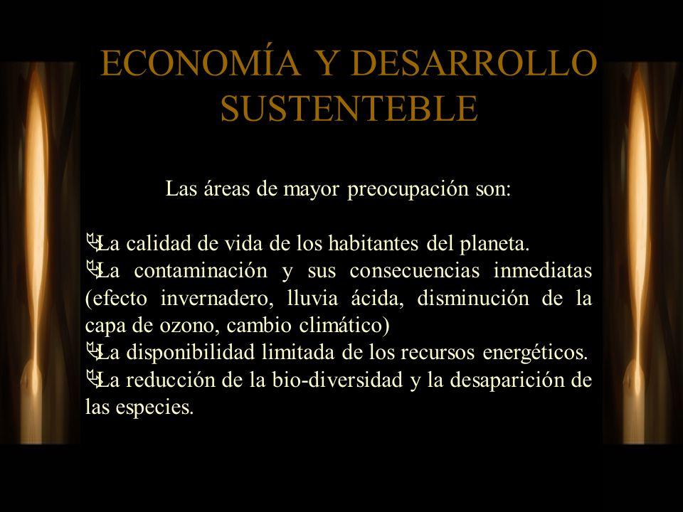 ECONOMÍA Y DESARROLLO SUSTENTEBLE Las áreas de mayor preocupación son: La calidad de vida de los habitantes del planeta. La contaminación y sus consec