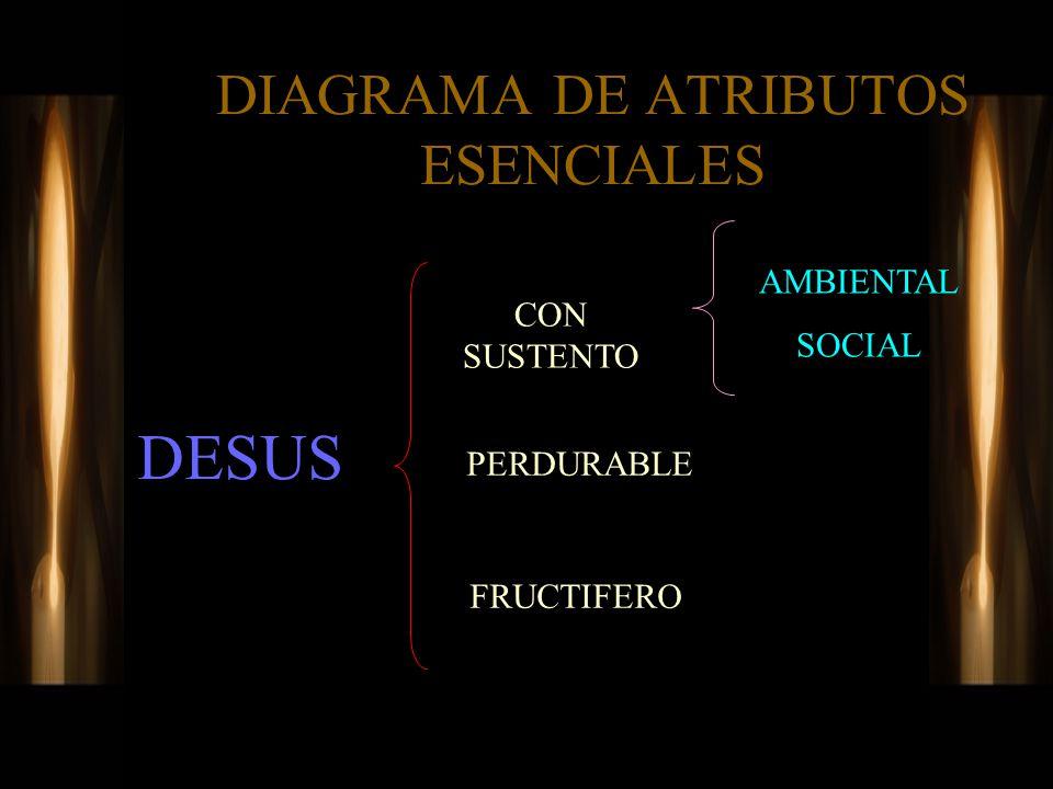 DIAGRAMA DE ATRIBUTOS ESENCIALES DESUS CON SUSTENTO PERDURABLE FRUCTIFERO AMBIENTAL SOCIAL