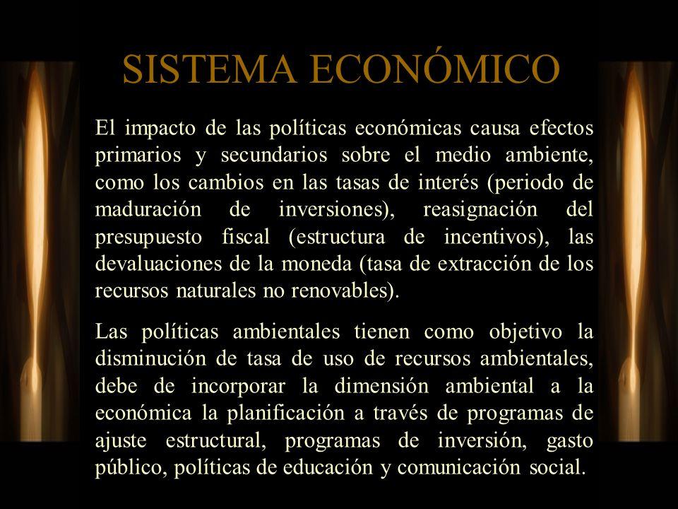 SISTEMA ECONÓMICO El impacto de las políticas económicas causa efectos primarios y secundarios sobre el medio ambiente, como los cambios en las tasas