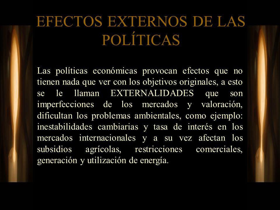 EFECTOS EXTERNOS DE LAS POLÍTICAS Las políticas económicas provocan efectos que no tienen nada que ver con los objetivos originales, a esto se le llam