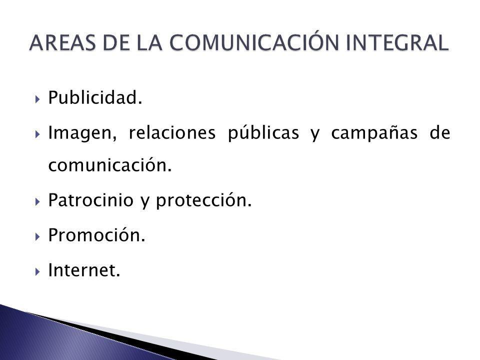 Publicidad. Imagen, relaciones públicas y campañas de comunicación. Patrocinio y protección. Promoción. Internet.