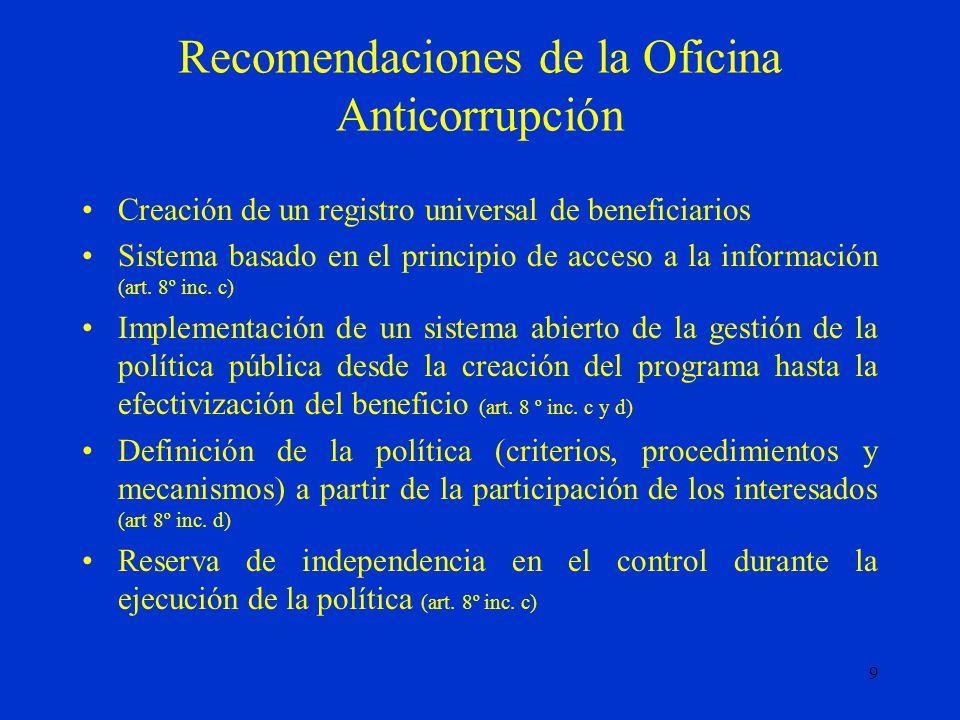 9 Recomendaciones de la Oficina Anticorrupción Creación de un registro universal de beneficiarios Sistema basado en el principio de acceso a la información (art.