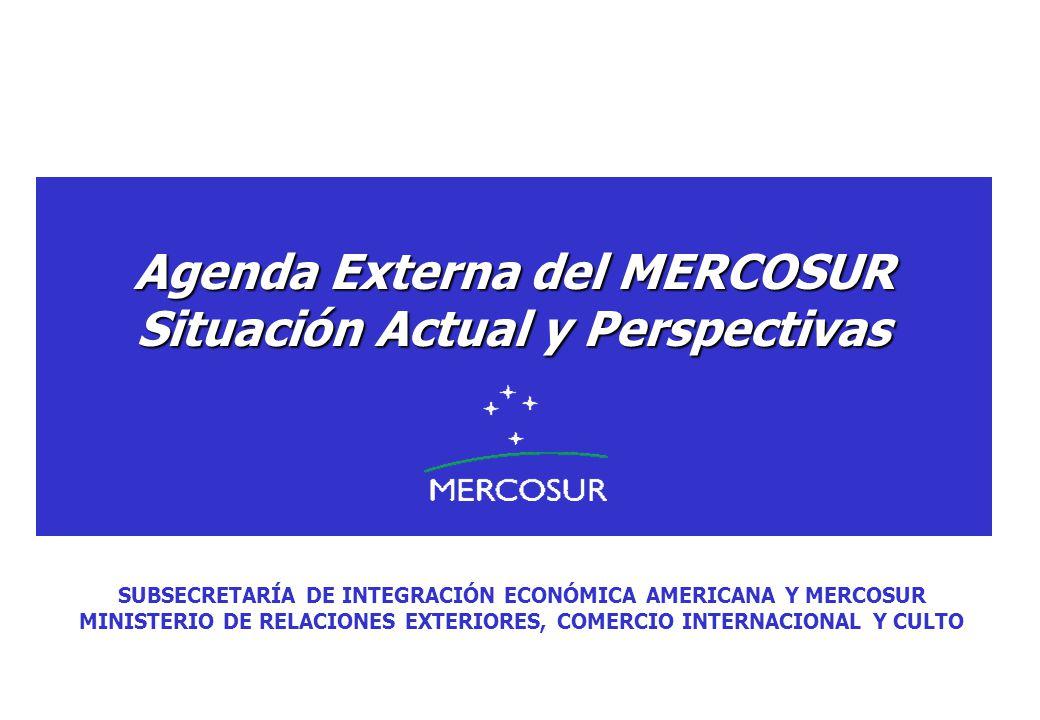 Agenda Externa del MERCOSUR Situación Actual y Perspectivas SUBSECRETARÍA DE INTEGRACIÓN ECONÓMICA AMERICANA Y MERCOSUR MINISTERIO DE RELACIONES EXTER