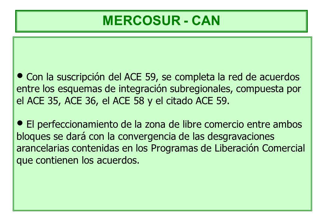 Con la suscripción del ACE 59, se completa la red de acuerdos entre los esquemas de integración subregionales, compuesta por el ACE 35, ACE 36, el ACE