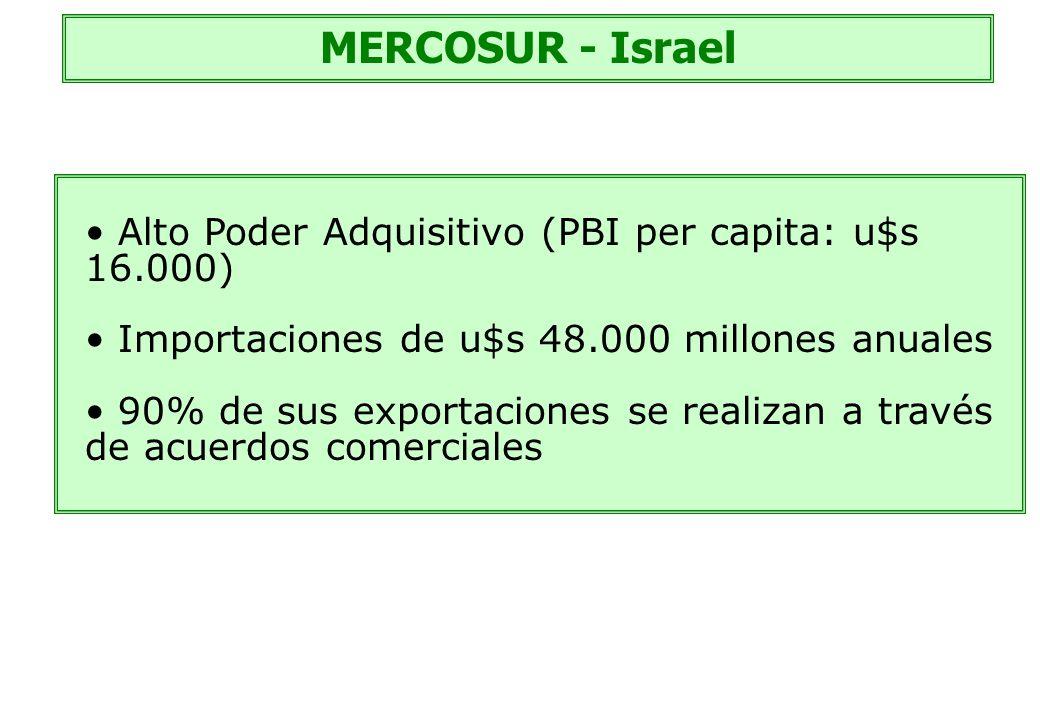 MERCOSUR - Israel Alto Poder Adquisitivo (PBI per capita: u$s 16.000) Importaciones de u$s 48.000 millones anuales 90% de sus exportaciones se realiza