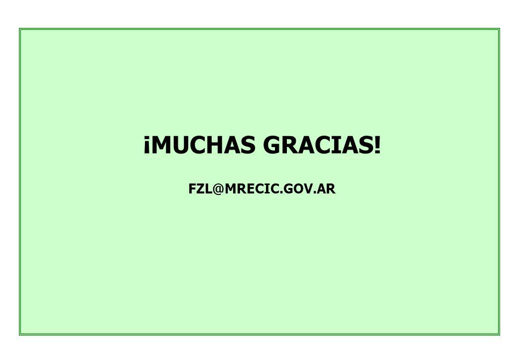 ¡MUCHAS GRACIAS! FZL@MRECIC.GOV.AR