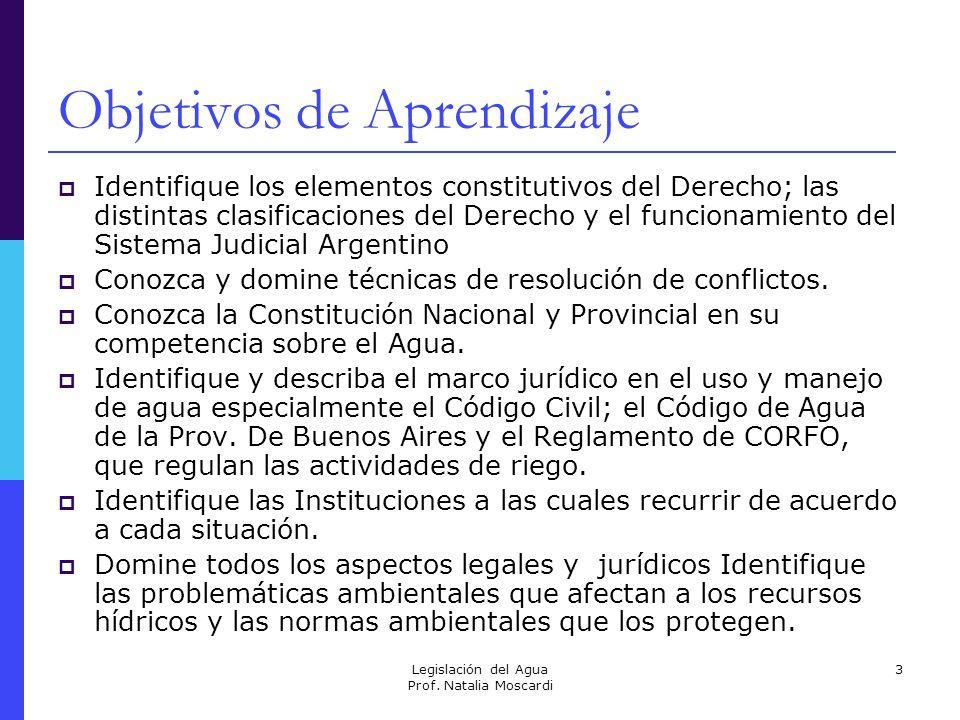 Legislación del Agua Prof. Natalia Moscardi 3 Objetivos de Aprendizaje Identifique los elementos constitutivos del Derecho; las distintas clasificacio