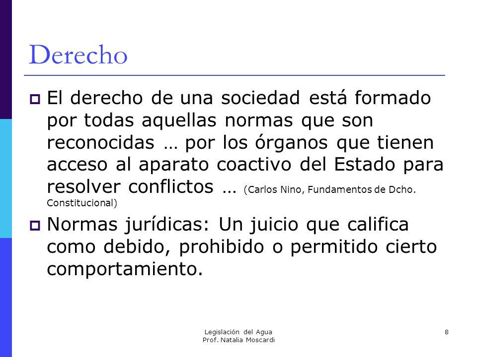 Legislación del Agua Prof. Natalia Moscardi 8 Derecho El derecho de una sociedad está formado por todas aquellas normas que son reconocidas … por los