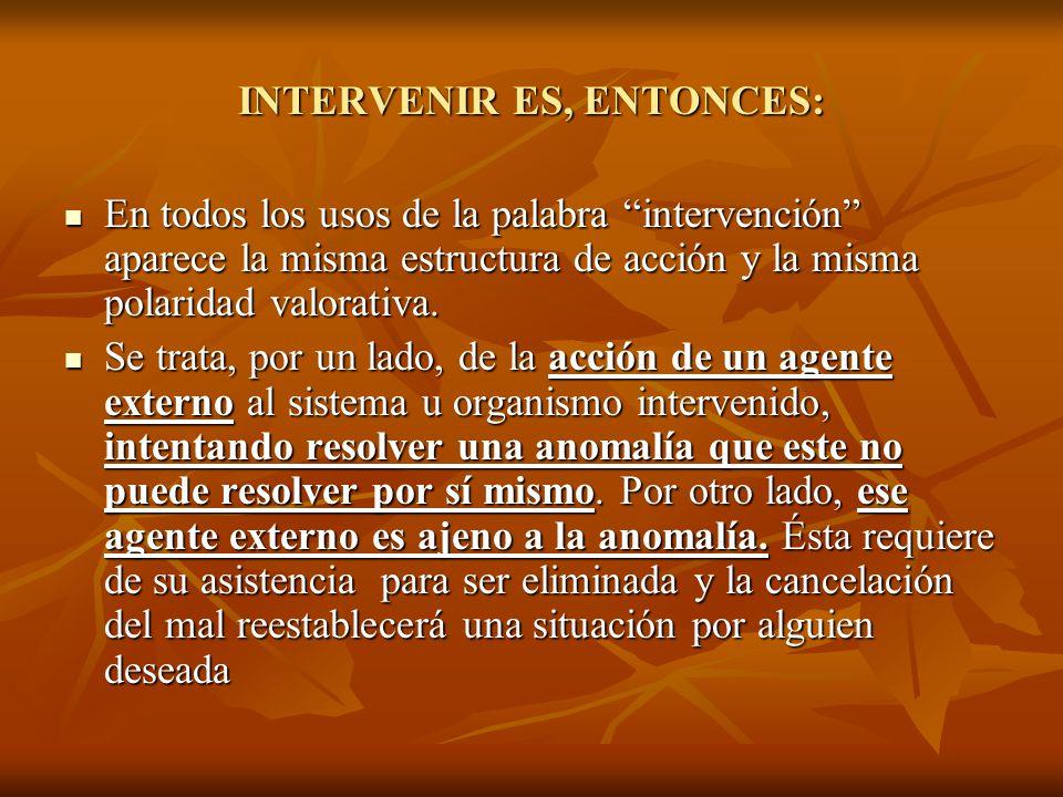 INTERVENIR ES, ENTONCES: En todos los usos de la palabra intervención aparece la misma estructura de acción y la misma polaridad valorativa. En todos