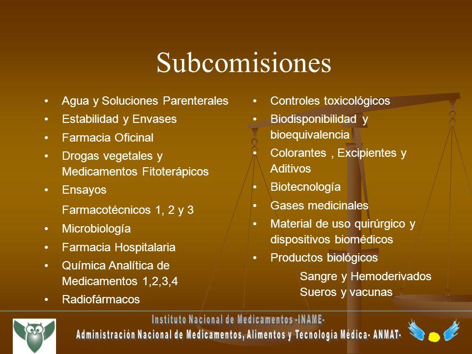 Subcomisiones Agua y Soluciones Parenterales Estabilidad y Envases Farmacia Oficinal Drogas vegetales y Medicamentos Fitoterápicos Ensayos Farmacotécn