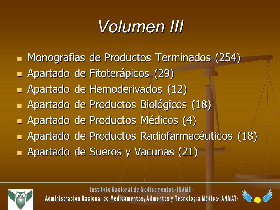 Volumen III Monografías de Productos Terminados (254) Monografías de Productos Terminados (254) Apartado de Fitoterápicos (29) Apartado de Fitoterápic