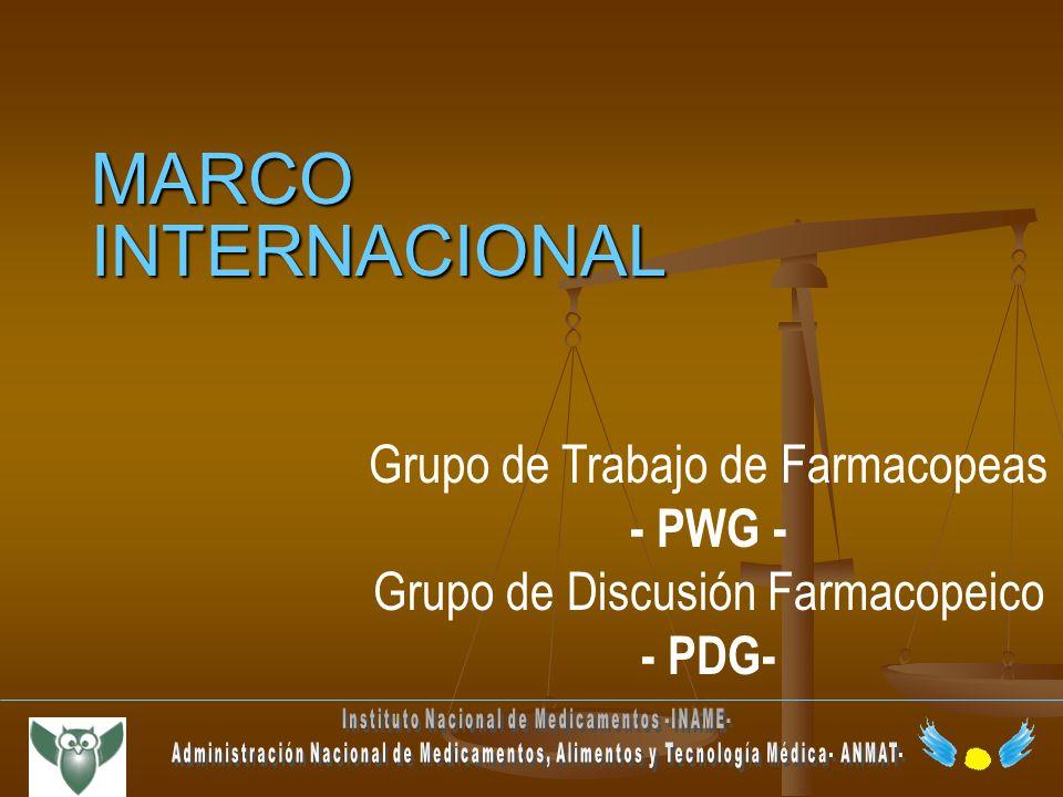 MARCO INTERNACIONAL Grupo de Trabajo de Farmacopeas - PWG - Grupo de Discusión Farmacopeico - PDG-