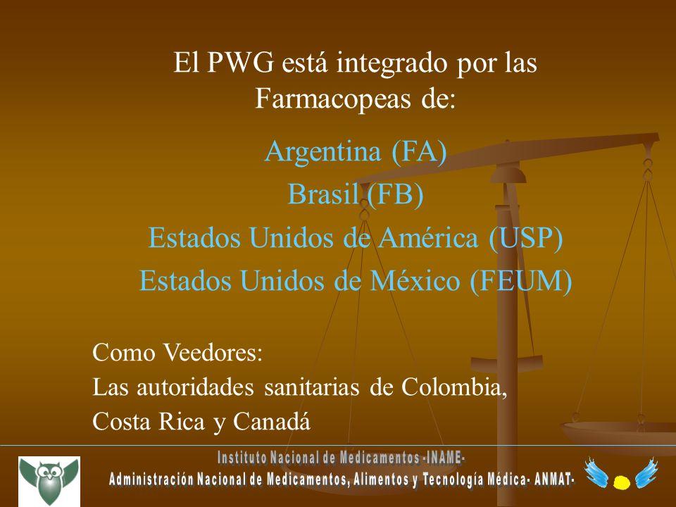 El PWG está integrado por las Farmacopeas de: Argentina (FA) Brasil (FB) Estados Unidos de América (USP) Estados Unidos de México (FEUM) Como Veedores