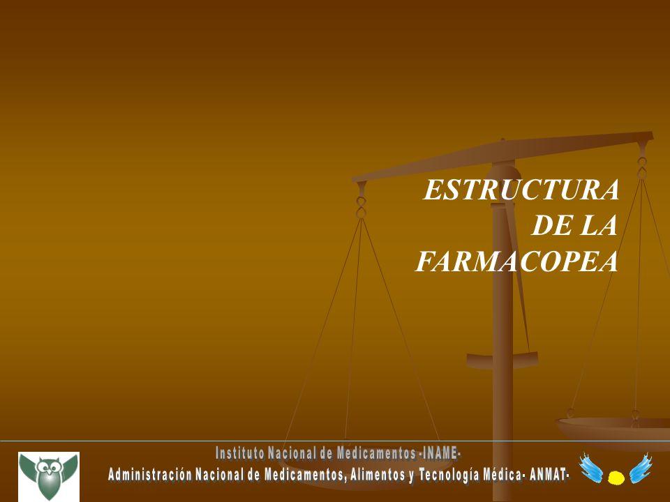 ESTRUCTURA DE LA FARMACOPEA