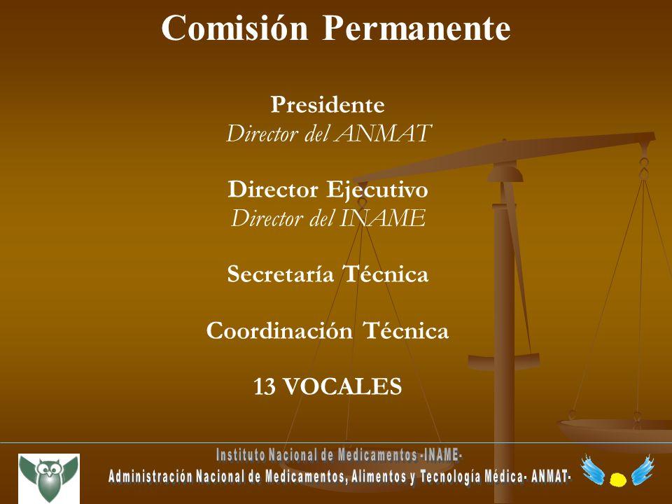 Presidente Director del ANMAT Director Ejecutivo Director del INAME Secretaría Técnica Coordinación Técnica 13 VOCALES Comisión Permanente