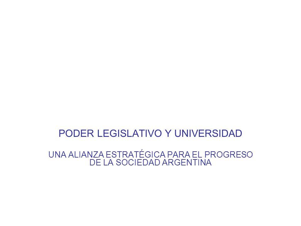 PODER LEGISLATIVO Y UNIVERSIDAD UNA ALIANZA ESTRATÉGICA PARA EL PROGRESO DE LA SOCIEDAD ARGENTINA