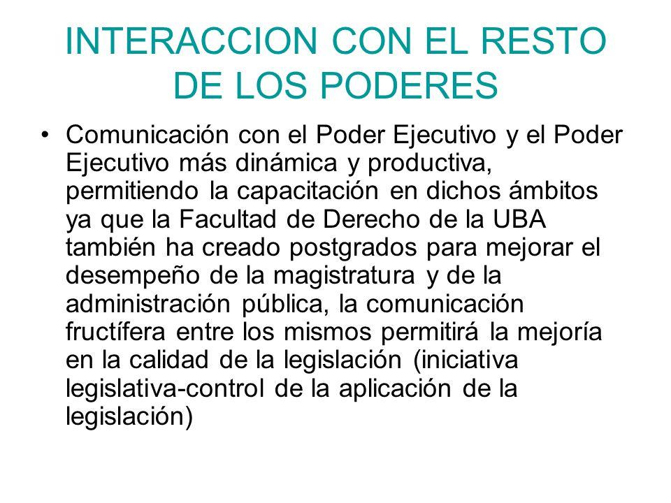 INTERACCION CON EL RESTO DE LOS PODERES Comunicación con el Poder Ejecutivo y el Poder Ejecutivo más dinámica y productiva, permitiendo la capacitació