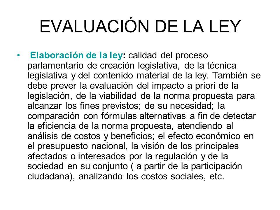 EVALUACIÓN DE LA LEY Elaboración de la ley: calidad del proceso parlamentario de creación legislativa, de la técnica legislativa y del contenido mater
