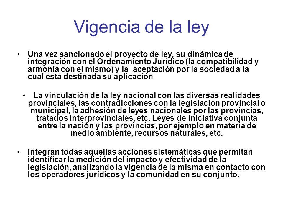 Vigencia de la ley Una vez sancionado el proyecto de ley, su dinámica de integración con el Ordenamiento Jurídico (la compatibilidad y armonía con el