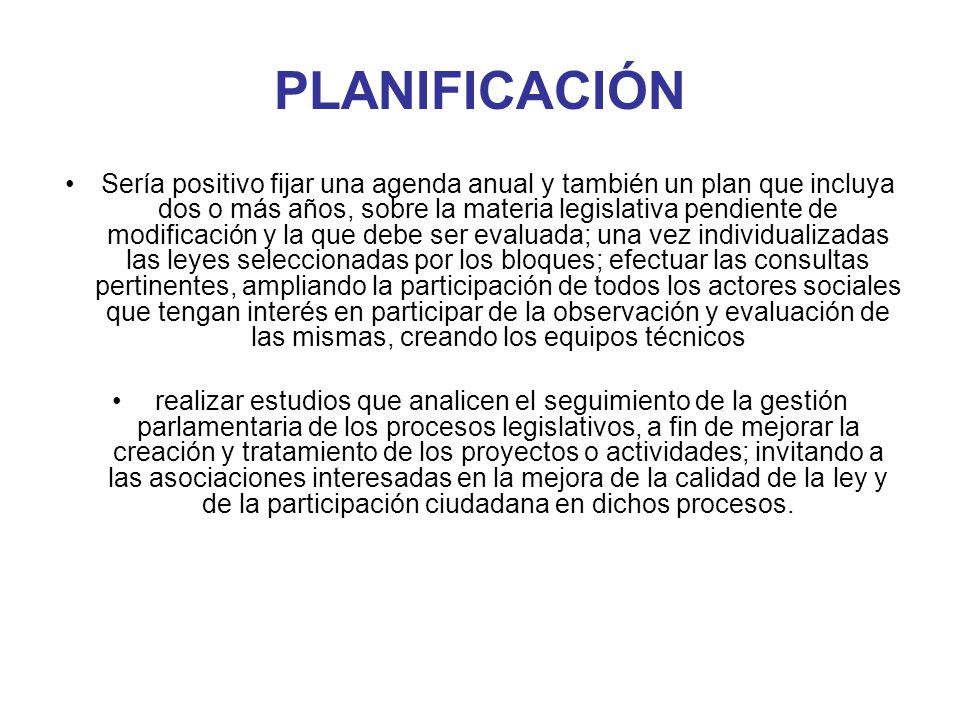 PLANIFICACIÓN Sería positivo fijar una agenda anual y también un plan que incluya dos o más años, sobre la materia legislativa pendiente de modificaci