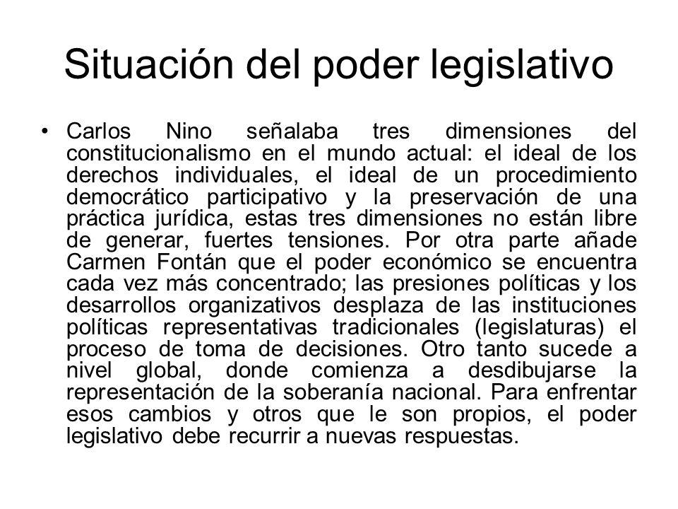Situación del poder legislativo Carlos Nino señalaba tres dimensiones del constitucionalismo en el mundo actual: el ideal de los derechos individuales