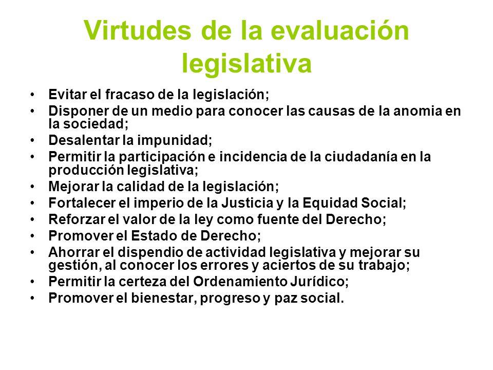 Virtudes de la evaluación legislativa Evitar el fracaso de la legislación; Disponer de un medio para conocer las causas de la anomia en la sociedad; D
