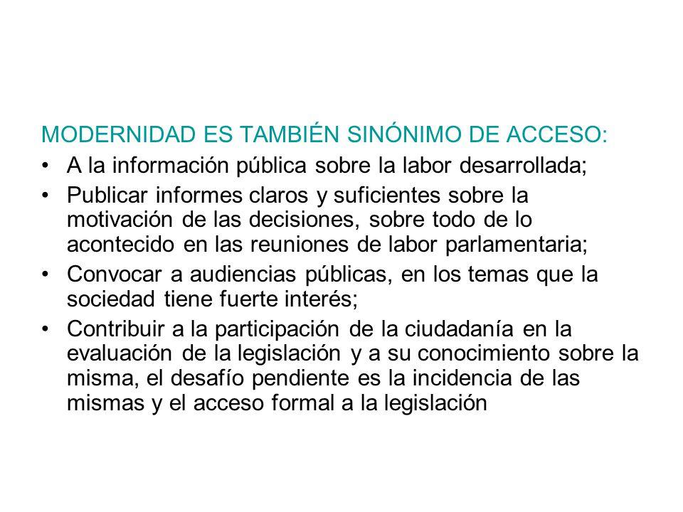MODERNIDAD ES TAMBIÉN SINÓNIMO DE ACCESO: A la información pública sobre la labor desarrollada; Publicar informes claros y suficientes sobre la motiva