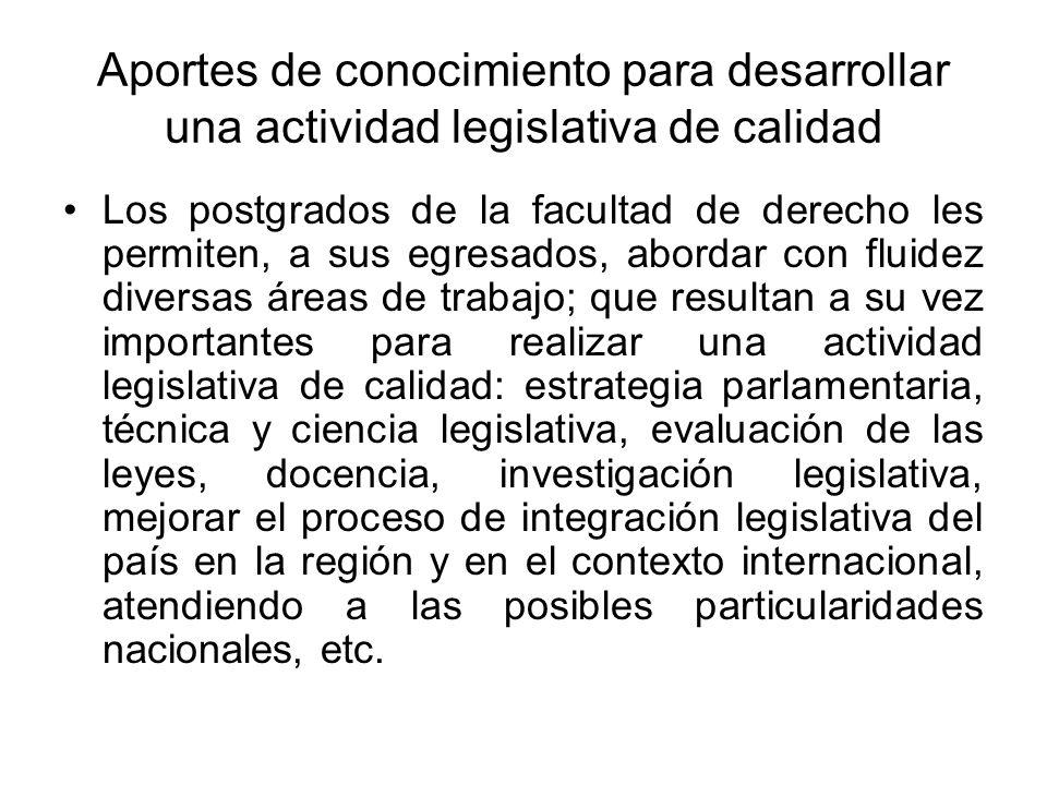Aportes de conocimiento para desarrollar una actividad legislativa de calidad Los postgrados de la facultad de derecho les permiten, a sus egresados,