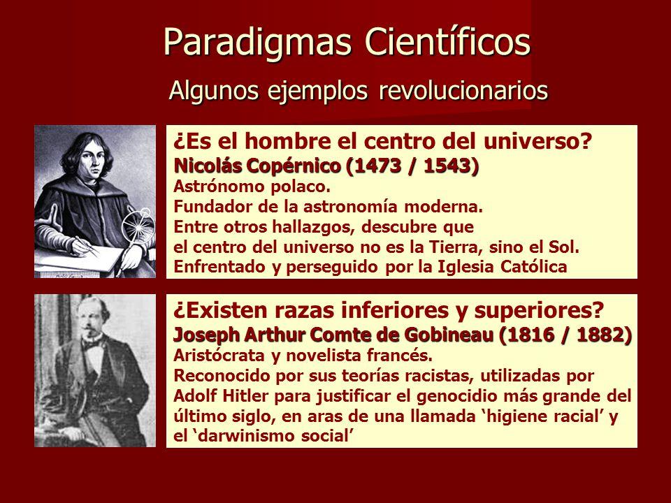 Paradigmas Científicos Algunos ejemplos revolucionarios Paradigmas Científicos Algunos ejemplos revolucionarios ¿Es el hombre el centro del universo.