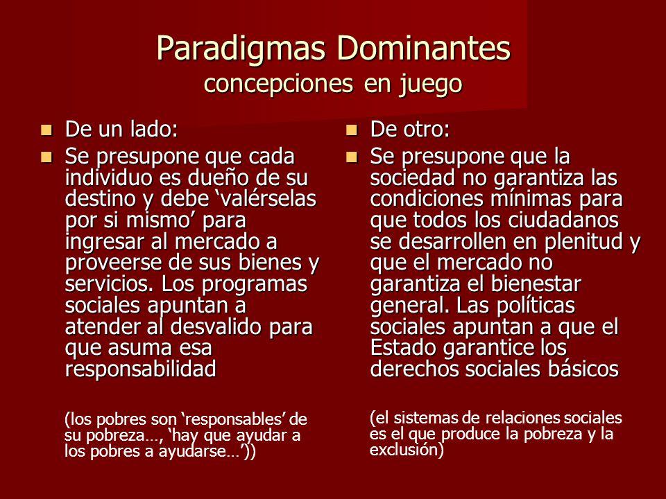 Paradigmas Dominantes concepciones en juego De un lado: De un lado: Se presupone que cada individuo es dueño de su destino y debe valérselas por si mismo para ingresar al mercado a proveerse de sus bienes y servicios.