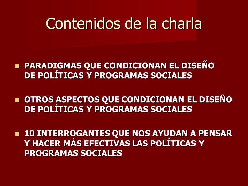 Contenidos de la charla PARADIGMAS QUE CONDICIONAN EL DISEÑO DE POLÍTICAS Y PROGRAMAS SOCIALES PARADIGMAS QUE CONDICIONAN EL DISEÑO DE POLÍTICAS Y PROGRAMAS SOCIALES OTROS ASPECTOS QUE CONDICIONAN EL DISEÑO DE POLÍTICAS Y PROGRAMAS SOCIALES OTROS ASPECTOS QUE CONDICIONAN EL DISEÑO DE POLÍTICAS Y PROGRAMAS SOCIALES 10 INTERROGANTES QUE NOS AYUDAN A PENSAR Y HACER MÁS EFECTIVAS LAS POLÍTICAS Y PROGRAMAS SOCIALES 10 INTERROGANTES QUE NOS AYUDAN A PENSAR Y HACER MÁS EFECTIVAS LAS POLÍTICAS Y PROGRAMAS SOCIALES