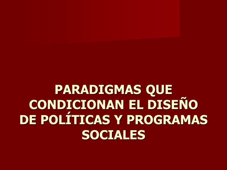 PARADIGMAS QUE CONDICIONAN EL DISEÑO DE POLÍTICAS Y PROGRAMAS SOCIALES