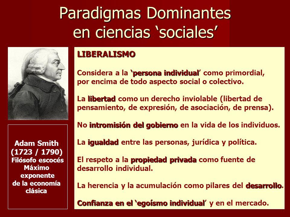 Paradigmas Dominantes en ciencias sociales LIBERALISMO persona individual Considera a la persona individual como primordial, por encima de todo aspecto social o colectivo.