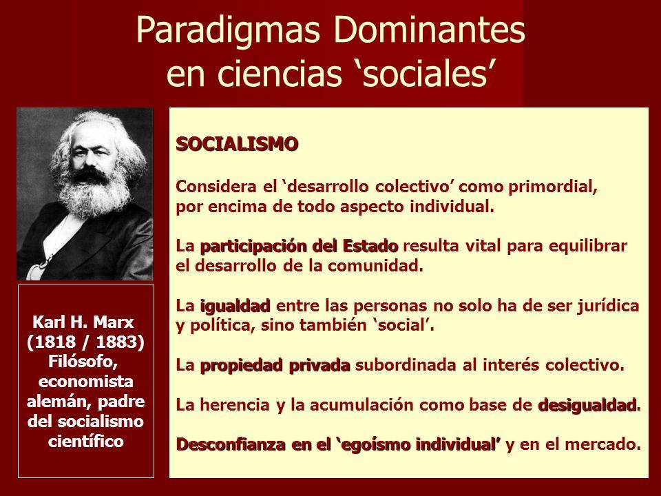 Paradigmas Dominantes en ciencias sociales SOCIALISMO Considera el desarrollo colectivo como primordial, por encima de todo aspecto individual.