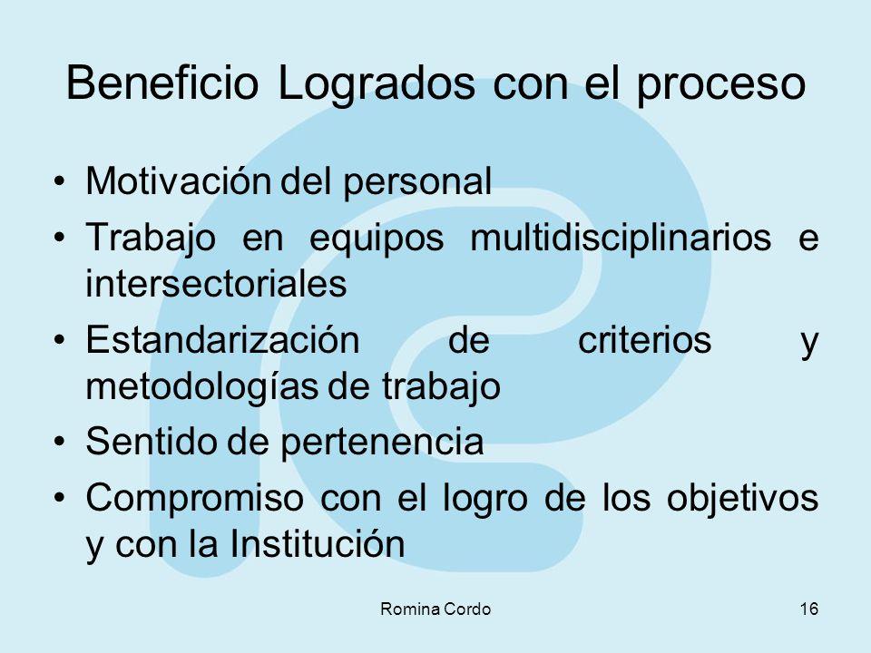 Romina Cordo16 Beneficio Logrados con el proceso Motivación del personal Trabajo en equipos multidisciplinarios e intersectoriales Estandarización de