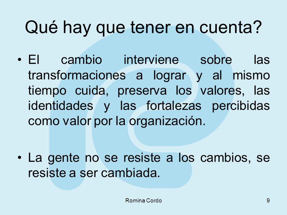 Romina Cordo9 Qué hay que tener en cuenta? El cambio interviene sobre las transformaciones a lograr y al mismo tiempo cuida, preserva los valores, las
