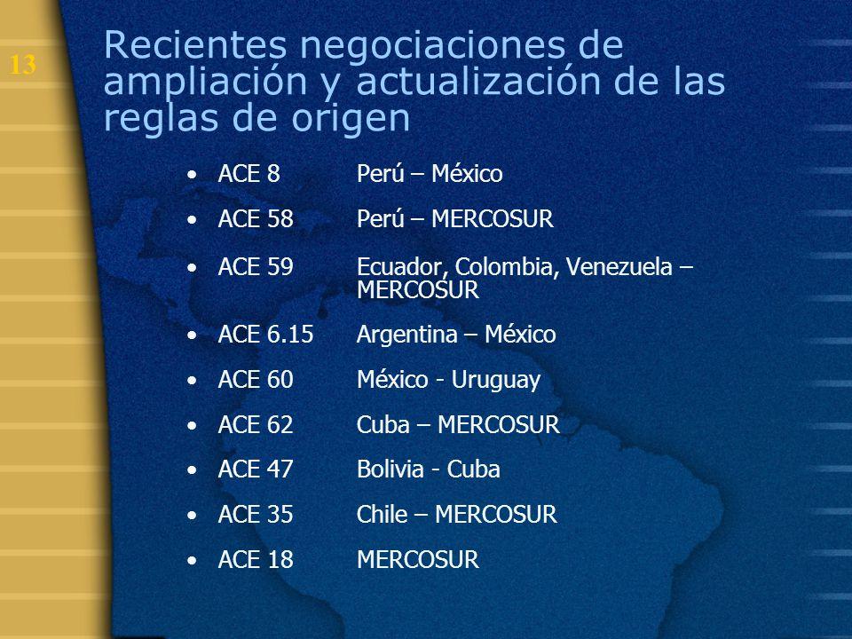 13 Recientes negociaciones de ampliación y actualización de las reglas de origen ACE 8 Perú – México ACE 58 Perú – MERCOSUR ACE 59 Ecuador, Colombia,