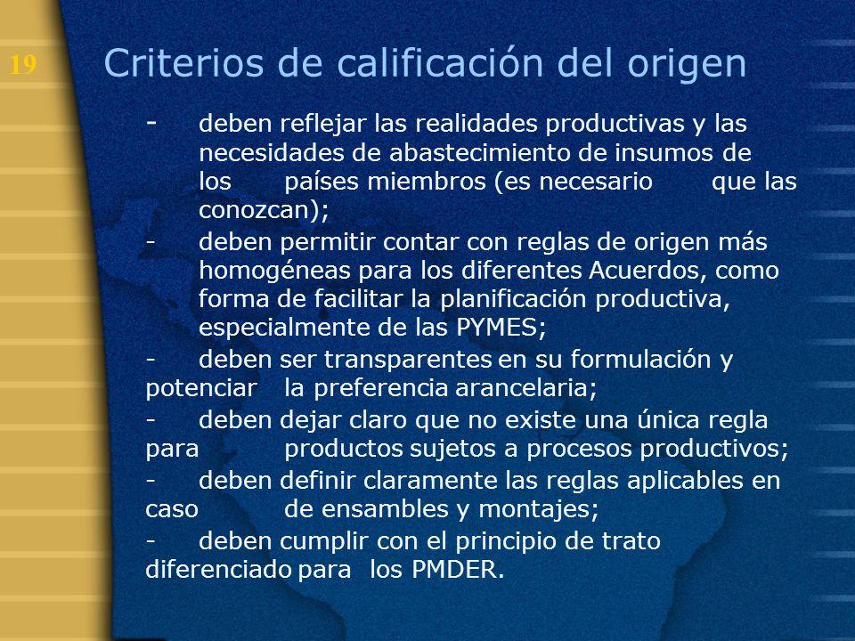 19 Criterios de calificación del origen - deben reflejar las realidades productivas y las necesidades de abastecimiento de insumos de los países miemb