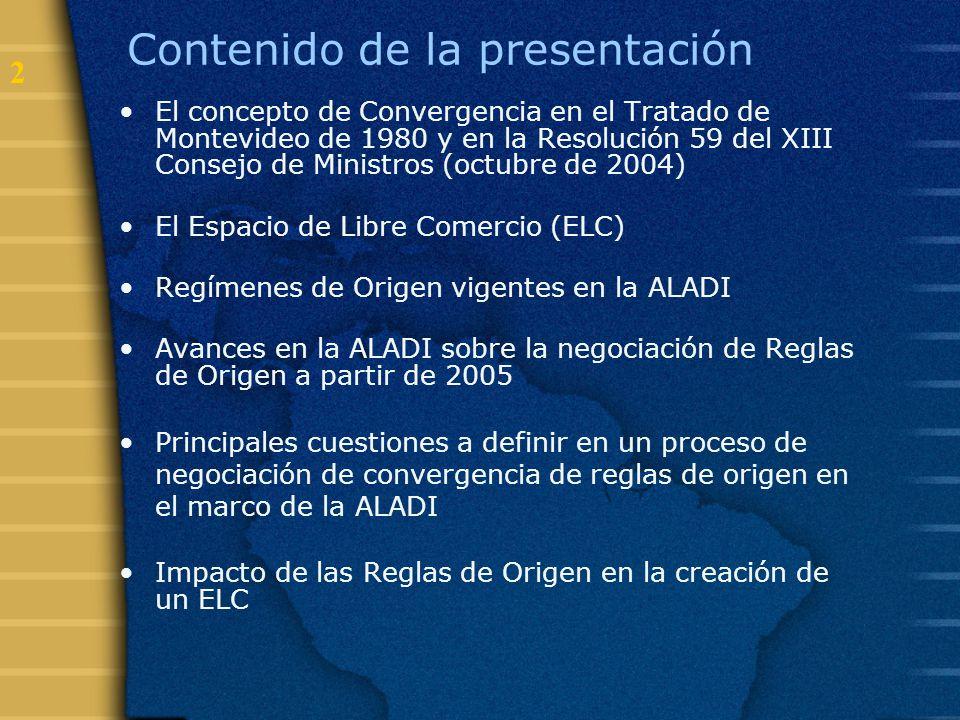 2 Contenido de la presentación El concepto de Convergencia en el Tratado de Montevideo de 1980 y en la Resolución 59 del XIII Consejo de Ministros (oc