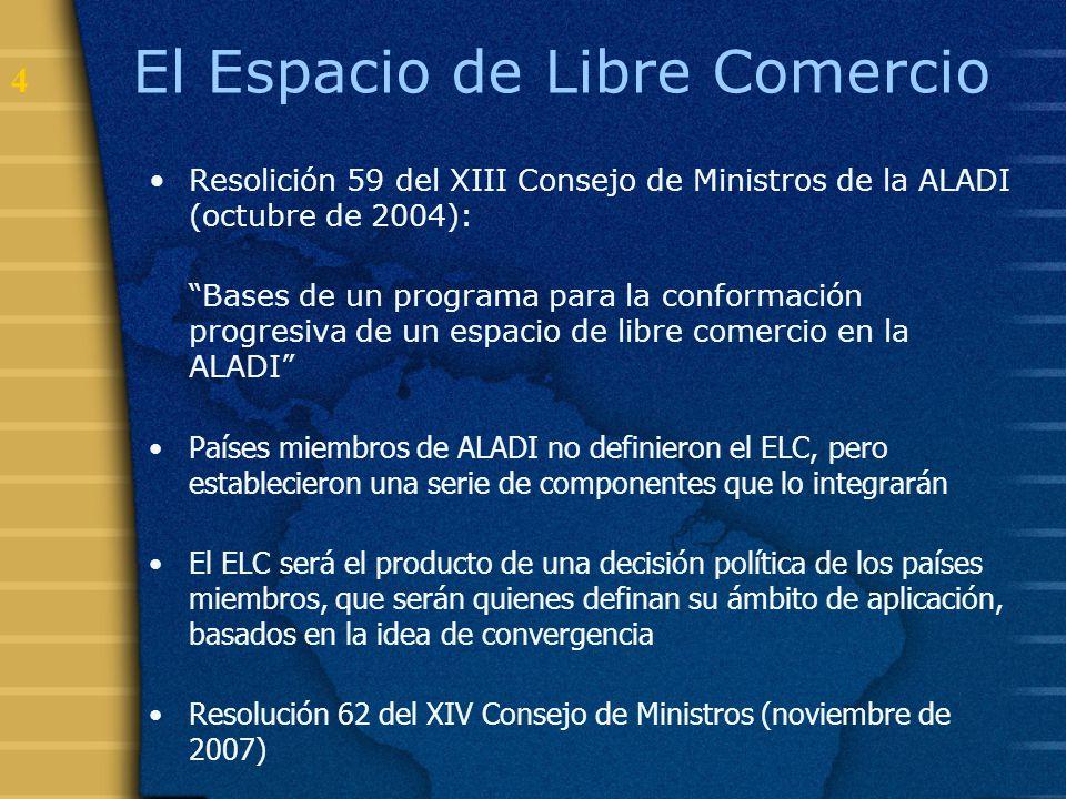 4 El Espacio de Libre Comercio Resolición 59 del XIII Consejo de Ministros de la ALADI (octubre de 2004): Bases de un programa para la conformación pr