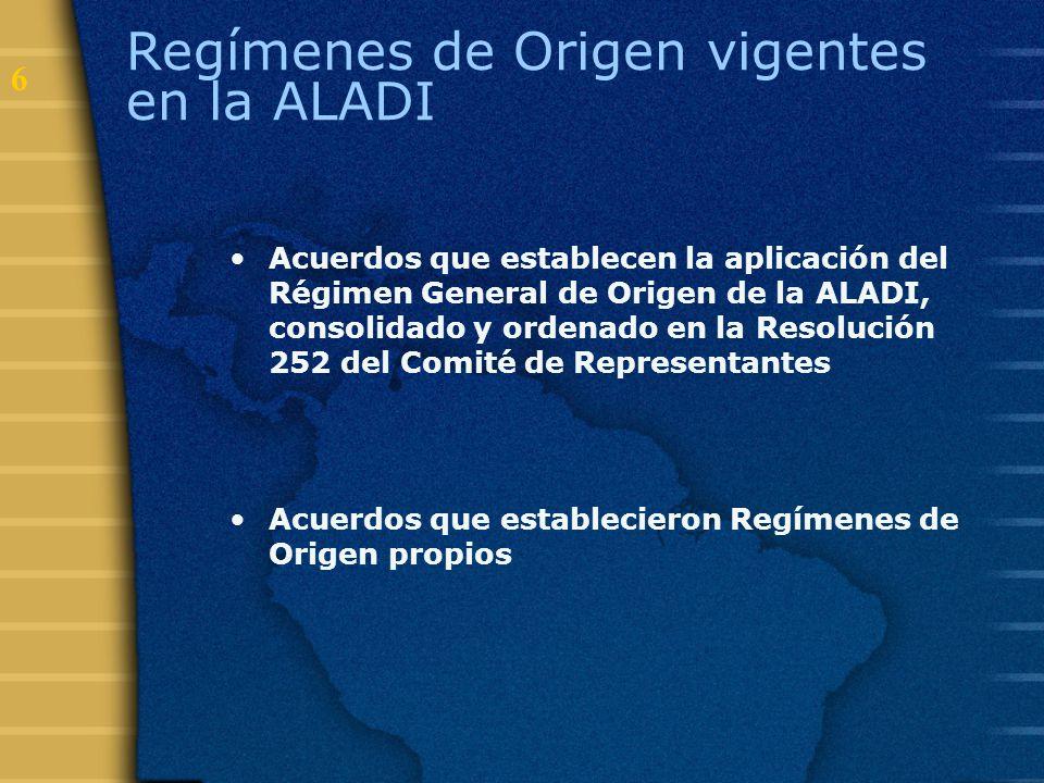 6 Regímenes de Origen vigentes en la ALADI Acuerdos que establecen la aplicación del Régimen General de Origen de la ALADI, consolidado y ordenado en