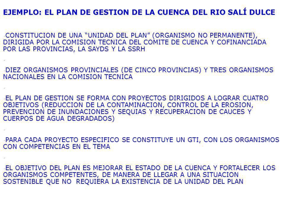 EJEMPLO: EL PLAN DE GESTION DE LA CUENCA DEL RIO SALÍ DULCE CONSTITUCION DE UNA UNIDAD DEL PLAN (ORGANISMO NO PERMANENTE), DIRIGIDA POR LA COMISION TECNICA DEL COMITE DE CUENCA Y COFINANCIADA POR LAS PROVINCIAS, LA SAYDS Y LA SSRH CONSTITUCION DE UNA UNIDAD DEL PLAN (ORGANISMO NO PERMANENTE), DIRIGIDA POR LA COMISION TECNICA DEL COMITE DE CUENCA Y COFINANCIADA POR LAS PROVINCIAS, LA SAYDS Y LA SSRH DIEZ ORGANISMOS PROVINCIALES (DE CINCO PROVINCIAS) Y TRES ORGANISMOS NACIONALES EN LA COMISION TECNICA DIEZ ORGANISMOS PROVINCIALES (DE CINCO PROVINCIAS) Y TRES ORGANISMOS NACIONALES EN LA COMISION TECNICA EL PLAN DE GESTION SE FORMA CON PROYECTOS DIRIGIDOS A LOGRAR CUATRO OBJETIVOS (REDUCCION DE LA CONTAMINACION, CONTROL DE LA EROSION, PREVENCION DE INUNDACIONES Y SEQUIAS Y RECUPERACION DE CAUCES Y CUERPOS DE AGUA DEGRADADOS) EL PLAN DE GESTION SE FORMA CON PROYECTOS DIRIGIDOS A LOGRAR CUATRO OBJETIVOS (REDUCCION DE LA CONTAMINACION, CONTROL DE LA EROSION, PREVENCION DE INUNDACIONES Y SEQUIAS Y RECUPERACION DE CAUCES Y CUERPOS DE AGUA DEGRADADOS) PARA CADA PROYECTO ESPECIFICO SE CONSTITUYE UN GTI, CON LOS ORGANISMOS CON COMPETENCIAS EN EL TEMA PARA CADA PROYECTO ESPECIFICO SE CONSTITUYE UN GTI, CON LOS ORGANISMOS CON COMPETENCIAS EN EL TEMA EL OBJETIVO DEL PLAN ES MEJORAR EL ESTADO DE LA CUENCA Y FORTALECER LOS ORGANISMOS COMPETENTES, DE MANERA DE LLEGAR A UNA SITUACION SOSTENIBLE QUE NO REQUIERA LA EXISTENCIA DE LA UNIDAD DEL PLAN EL OBJETIVO DEL PLAN ES MEJORAR EL ESTADO DE LA CUENCA Y FORTALECER LOS ORGANISMOS COMPETENTES, DE MANERA DE LLEGAR A UNA SITUACION SOSTENIBLE QUE NO REQUIERA LA EXISTENCIA DE LA UNIDAD DEL PLAN