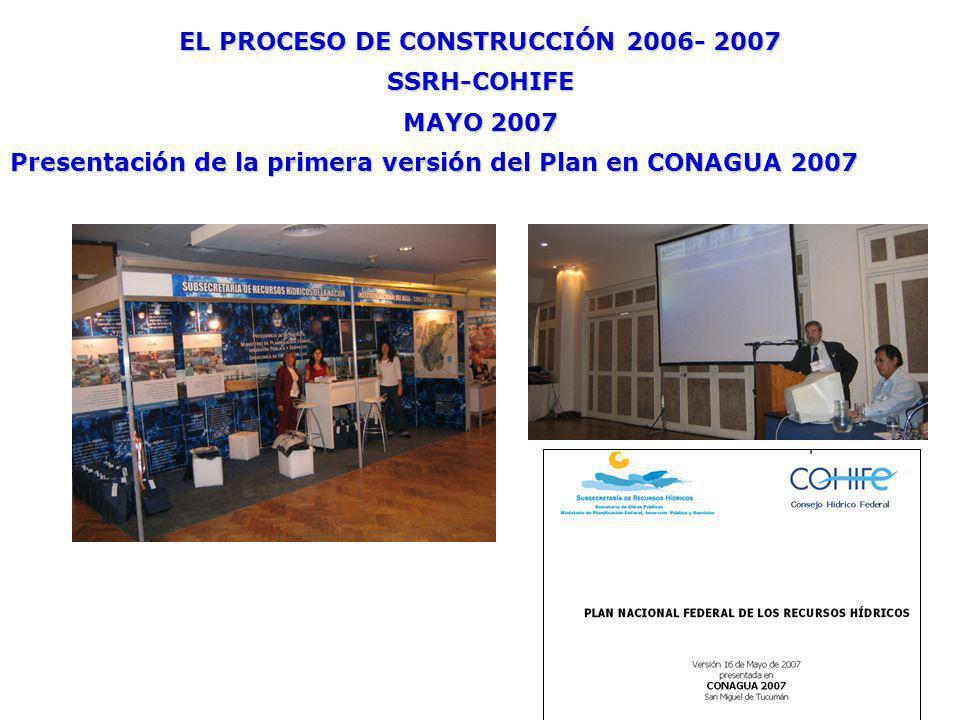 EL PROCESO DE CONSTRUCCIÓN 2006- 2007 SSRH-COHIFE MAYO 2007 Presentación de la primera versión del Plan en CONAGUA 2007