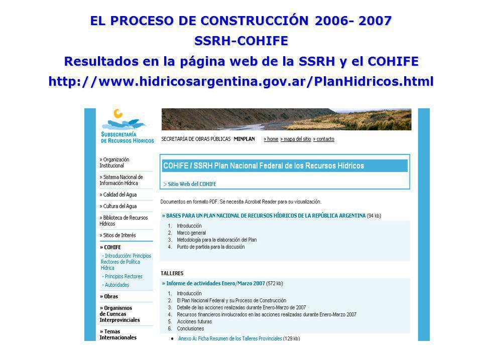 EL PROCESO DE CONSTRUCCIÓN 2006- 2007 SSRH-COHIFE Resultados en la página web de la SSRH y el COHIFE http://www.hidricosargentina.gov.ar/PlanHidricos.html