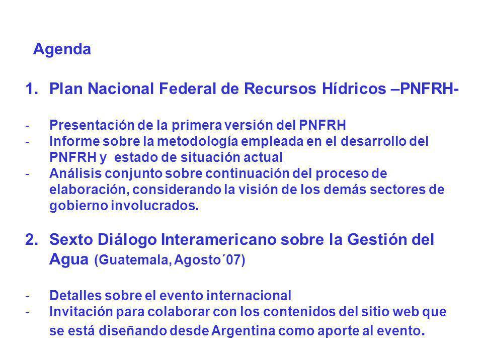 Agenda 1. 1.Plan Nacional Federal de Recursos Hídricos –PNFRH- - -Presentación de la primera versión del PNFRH - -Informe sobre la metodología emplead