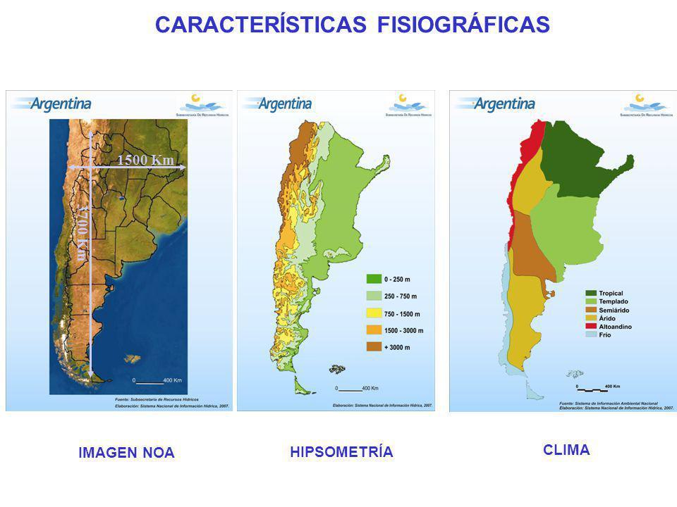 HIPSOMETRÍA CARACTERÍSTICAS FISIOGRÁFICAS 1500 Km 3700 Km IMAGEN NOA CLIMA
